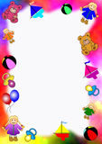 Colored border of baby toys Royalty Free Stock Photos