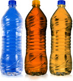 Colored bottle. There colored bottle on white with  background Stock Photo