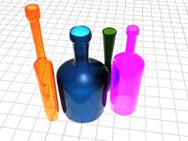 Colored bottles. A 3d illustration for a group of colored glass bottles Stock Photos