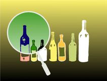 Colored bottles. Abstract background with colored bottle shapes and magnifying glass Stock Photography
