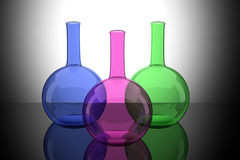 Colored bottles Stock Photography