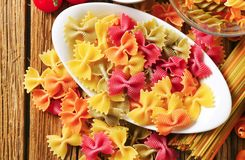 Colored bow tie pasta Royalty Free Stock Photos