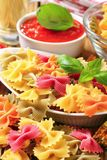 Colored bow tie pasta Royalty Free Stock Photo