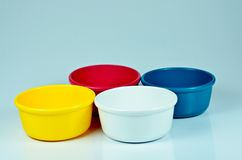 Colored bowl on the white. Background Royalty Free Stock Photo