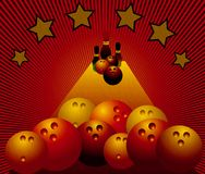 Colored bowling balls. Abstract image with stars, skittles and colored bowling balls Royalty Free Stock Image