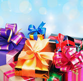 Colored box with gifts Royalty Free Stock Photography