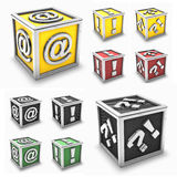 Colored box icon set. 3d rendering of silver @ (mail simbol), exclamation mark, question colored box icon or button (may use for a icon Stock Images