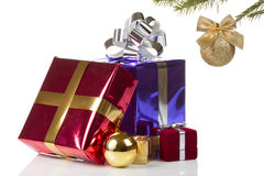 Colored boxes with christmas gifts. Some colored beautiful boxes with christmas gifts Stock Photos