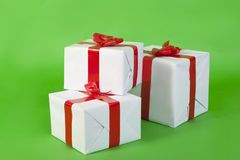 Colored boxes with christmas gifts Stock Images