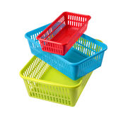 Colored boxes of different sizes, baskets for storage, three con Royalty Free Stock Photo