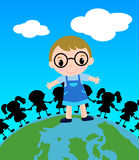 Colored  a boy on top of the world Royalty Free Stock Photo