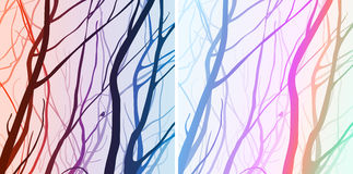 Colored branches with bird Stock Photo
