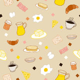 Colored breakfast theme. Breakfast seamless pattern in doodle style Stock Image
