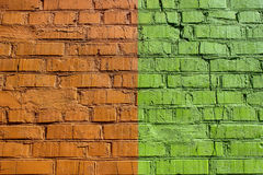 Colored brick wall in different colors Royalty Free Stock Images