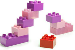 Colored bricks. Toy bricks of different colors joined together Stock Images