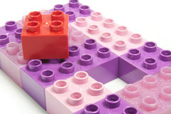 Colored bricks. Toy bricks of different colors joined together Royalty Free Stock Photo