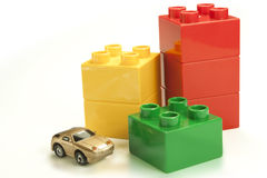 Colored bricks. As a graph with cars royalty free stock images