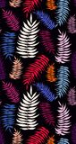 Colored bright palm leaves seamless pattern. Tropical colored palm leaves seamless pattern on the dark background. Blue, pink, orange, purple palm leaves Stock Photos