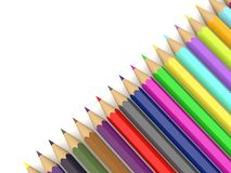 Colored bright pencils on a white background . royalty free illustration