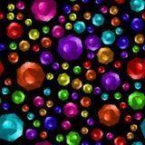 Colored Brilliant Cut Gems Seamless Pattern. On Black Background stock illustration