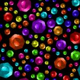Colored Brilliant Cut Gems Seamless Pattern. On Black Background royalty free illustration