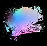 Colored brush black. Smudge and smear a colored brush on a black background, illustration clip-art Stock Image