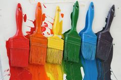 Colored brushes i create an interesting color effect. Colored brushes in an art store create an interesting color effect stock images