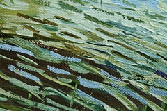 Colored brushstrokes of green and brown oil paint on canvas. Abstract background. Stock Images