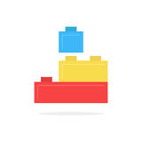 Colored building block toy with shadow Stock Photo