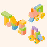 Colored building blocks for children. Vector set. 3d Isometric  illustration Stock Images