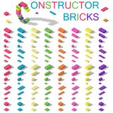 Colored building blocks of plastic constructor isometric set. Vector graphic illustration Stock Photos