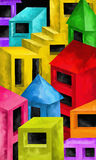 Colored buildings. Background with colored buildings fantasy Royalty Free Stock Photos