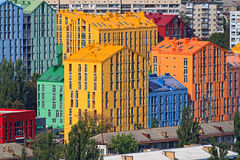 Colored buildings in Kiev. Comfort Town.  Kyiv Ukraine. Comfort Town on the site of the plant of artificial leather. Kiev. Darnitsa. Real estate and housing in Stock Photography