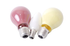 Colored bulbs. Three colored bulbs isolated over white background - clipping path included Stock Photo