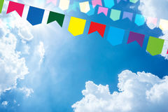Colored bunting on a beautiful sky Royalty Free Stock Photo
