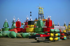 Colored buoys royalty free stock photo
