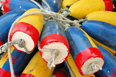 Colored Buoys. Red Blue and Yellow Buoys Royalty Free Stock Images