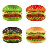 Colored burgers. Fast food black cheeseburger bread of different colors and ingredients meal beef tomato fries delicious stock illustration