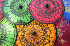 Colored Burmese Umbrellas Stock Photos
