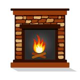 Colored burning fireplace. Vector illustration vector illustration