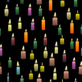 Colored Burning Wax Candles Seamless Pattern. On Black Background Royalty Free Stock Image