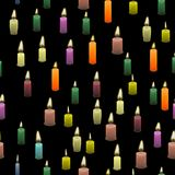 Colored Burning Wax Candles Seamless Pattern. Isolated on Black Background Royalty Free Stock Images