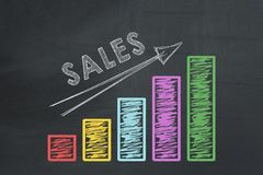 Colored business chart with arrow showing growth of sales rate.  Stock Photography