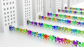 Colored businessmen running in and out of office buildings Royalty Free Stock Photography