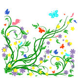 Colored butterflies and flower. S with abstract swirls on a white background. Can be used as a background, decor, decoupage, textile, invitation stock illustration