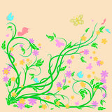 Colored butterflies and flowers with abstract swirls. Colored butterflies and flowers with abstract swirls on a beige background. Can be used as a background vector illustration