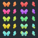 Colored butterflies isolated on dark background. Flat vector butterfly set. Colored butterflies isolated on dark background. Flat vector butterfly set vector illustration