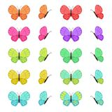 Colored butterflies isolated on white background. Flat vector butterfly set. Colored butterflies isolated on white background. Flat vector butterfly set royalty free illustration