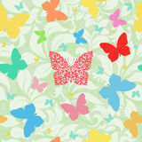 Colored butterflies seamless floral background. Abstract summer surface texture, leaves, plants, pattern fill - vector illustration stock illustration