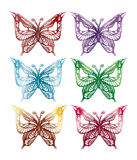 Colored butterflies. Vector graphic image with coloured butterflies silhouettes Royalty Free Stock Image